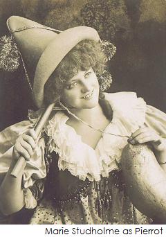 Marie Studholme as pierrot